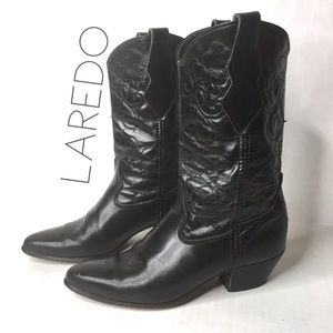 Laredo black leather mid cowgirl cowboy boots 7